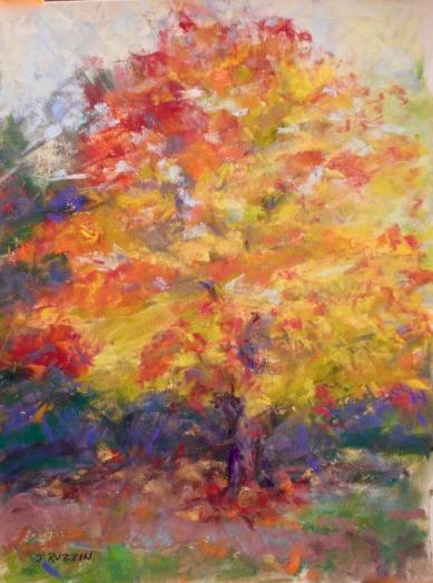 """SOLD. """"Autumn in Orange."""" 12x9, pastel on paper. Tree in Pleasant Ridge, MI. #puremichigan #pleasantridge"""