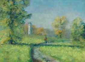 """Belle Isle Lighthouse."" 9x12, pastel on paper. $225. #detroit #puremichigan"