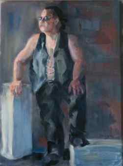 """""""Biker Badass."""" 16x12, oil on linen. $195. Contact artist."""