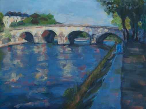 """SOLD. """"Bridge to Ile Saint-Louis, Paris."""" 12x16, oil on Arches oil paper."""