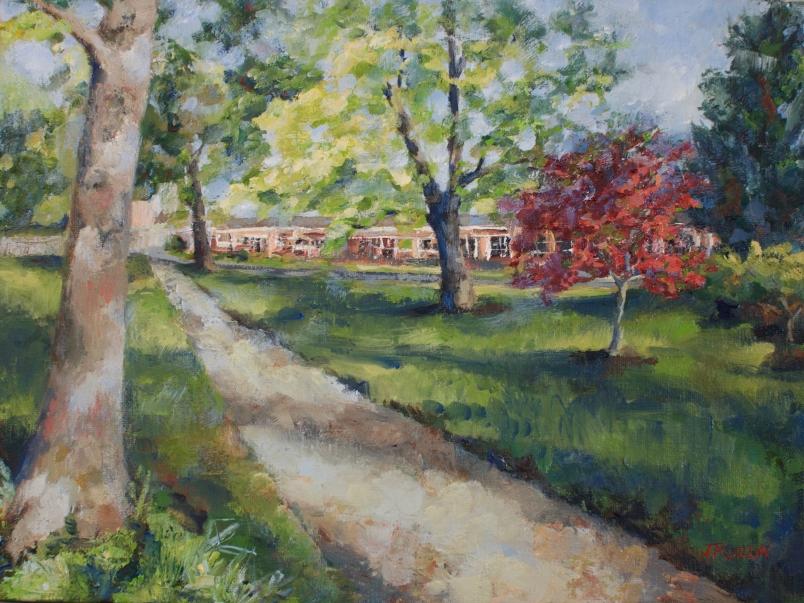 SOLD. Hessell Park in Spring, Pleasant Ridge, Michigan, 9x12, oil on linen board. #pleasantridge #puremichigan
