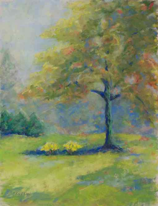 """SOLD. """"The Loving Tree."""" 12x9, pastel on paper. Tree in Mt. Clemens, MI."""