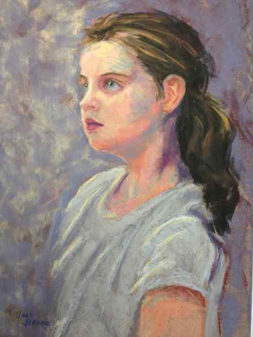 """COMMISSION. """"Miss K at Seven."""" Pastel on paper, 18x12."""