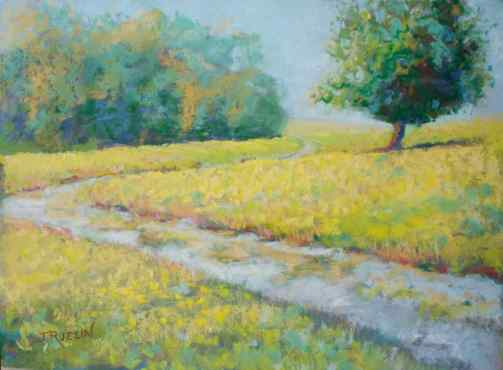 """""""Path to Lighthouse,"""" 9x12, pastel on paper. Belle Isle, Detroit. $195. Contact the artist. #puremichigan"""
