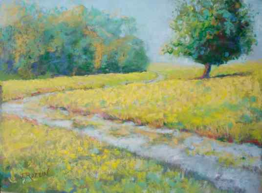 """""""Path to Lighthouse,"""" 9x12, pastel on paper. Belle Isle, Detroit. $245. Contact the artist. #puremichigan"""