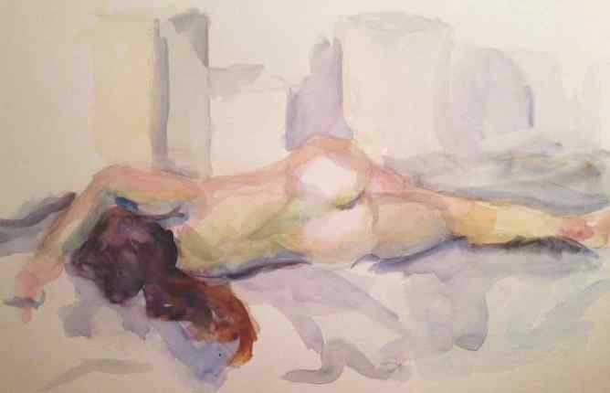 R Reclining. 9x12, watercolor on paper. $50.