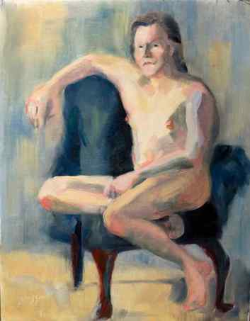 """""""Skeptical Nude."""" 14x11, oil on linen. $175. Contact artist."""