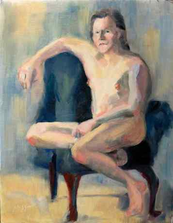 """Skeptical Nude."" 14x11, oil on linen. $150. Contact artist."