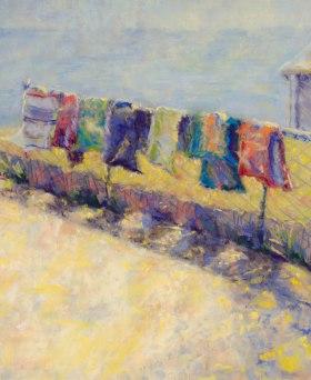 """""""Disappearing Towels,"""" 11x9, pastel on paper. Painted on the shore of Lake Huron, just north of AuGres, MI."""