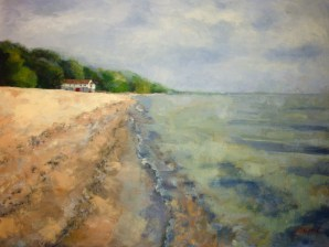 SOLD. The Beach House, 18x24, oil on canvas. #whitestonepoint #augres #puremichigan