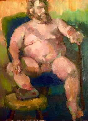 Nude King, 12x9, oil on linen, $125.