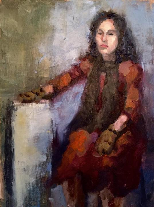"""""""Wearing Mittens,"""" 12x9, oil on canvas. $225."""