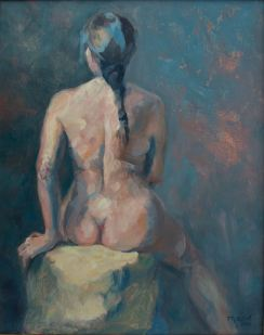 """""""Nude with braid."""" 20x16, oil on linen. $650. Juried into Scarab Club Gold Medal Show and Body Eclectic Show at Lawrence Street Gallery."""