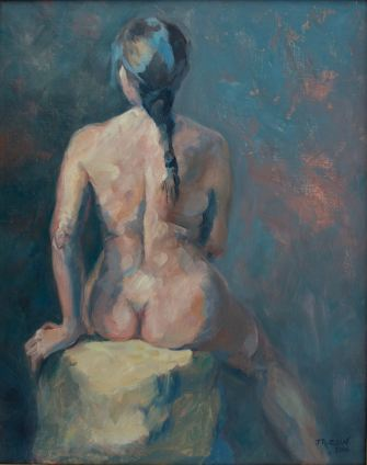 """Nude with braid."" 20x16, oil on linen. Exhibition History: Scarab Club Gold Medal Show, Body Eclectic Show at Lawrence Street Gallery."