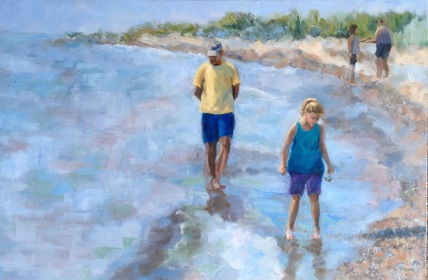 NFS. My family on the beach in Au Gres, Michigan. 24x36, oil on canvas. #whitestonepoint #puremichigan