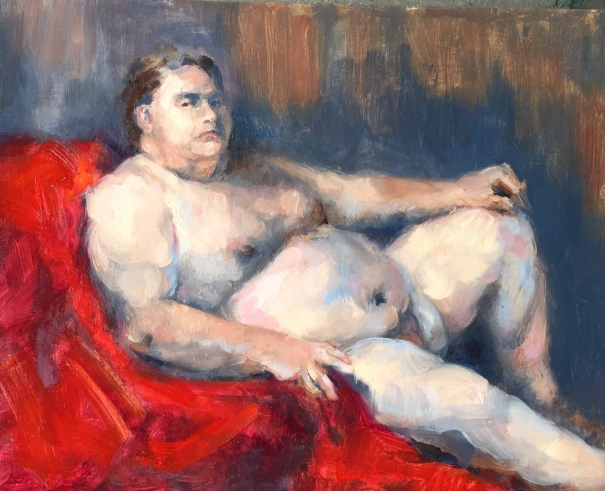 Male nude on red, 14x11, oil on linen, $175.
