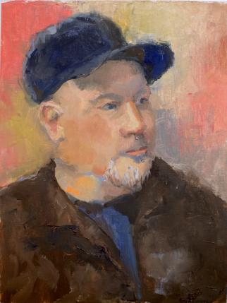 """""""Baseball Cap,"""" 12x9, oil on linen. Portrait of a fellow artist. $225."""