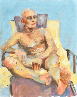 Male Nude, Yellow Blanket. Oil on linen, $150.