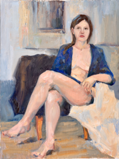 ON HOLD. Nude in Blue Robe. 12x16, oil on linen. Currently appearing in a show.