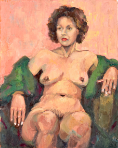 """Nude with Green Robe,"" 14x11, oil on linen. Juried into Body Eclectic Show at Lawrence Street Gallery. $295"
