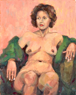 ON HOLD. Nude with Green Robe, 14x11, oil on linen, $225. Currently in a show.