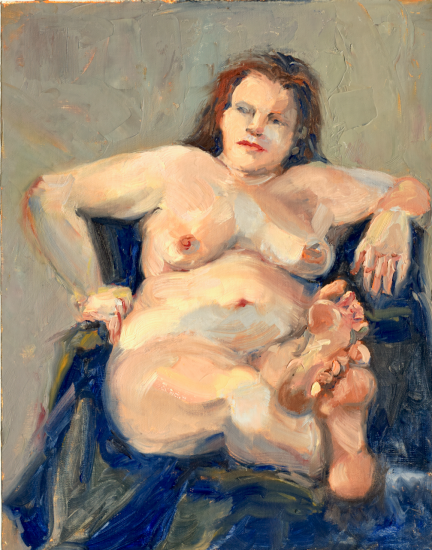 """""""Nude on Khaki,"""" oil on linen, $295. Provenance. Currently on display at the Flint Institute of Arts in the student wing. Juried into Scarab Club Gold Show."""