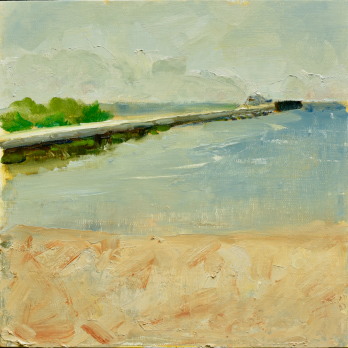 Tawas City, Michigan. 10x10, oil on linen panel. $275. Mostly plein air with minor studio tweaks. #puremichigan
