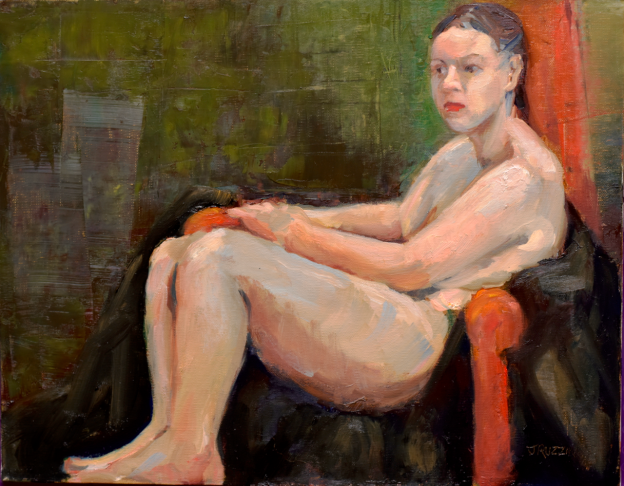 ON HOLD. Nude with Black Robe, 14x11, oil on linen. Currently appearing in a show.