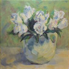12x12, oil on canvas. For sale at http://blacksaltmarket.com. #burleywinter #floralpaintings