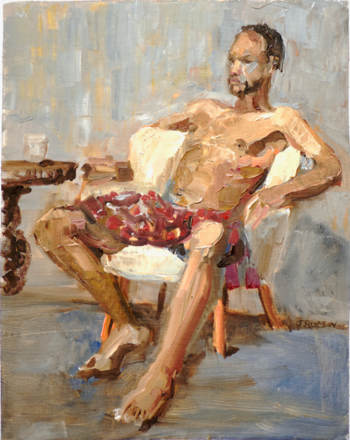 Plaid shorts, $225, oil on linen.