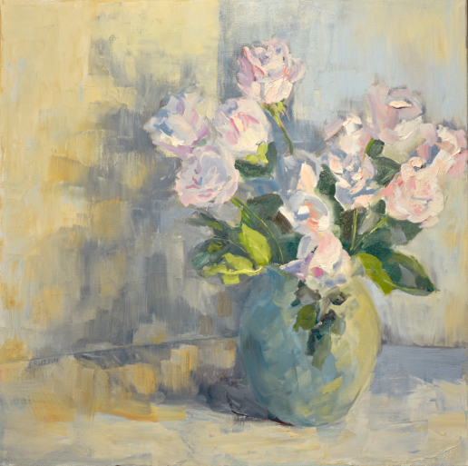 NFS. White Modernist Roses. 18x18, oil on canvas. Exhibition history: juried into the student show at the Flint Institute of Arts. First place, Monthly Palette & Brush Club jury.