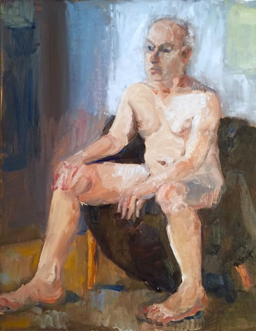 Male nude on brown. 12x16, oil on linen. $175.