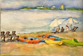 Sold. Traverse City, Michigan. Watercolor, 7x10.