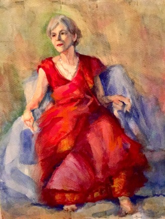 Red gown, watercolor, 7x10, $150.