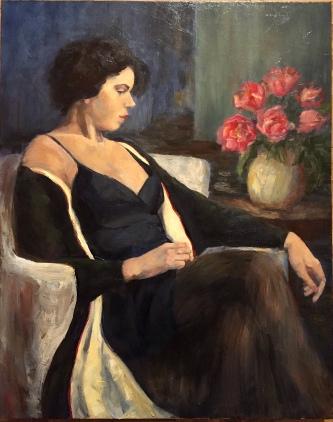 """SOLD. """"Black Velvet Robe,"""" 30x24, oil on canvas."""