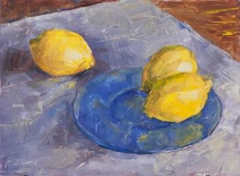 """""""Lemons."""" 11x14, oil on panel. Painted alla prima. $325."""