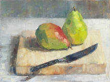 """ON HOLD for an exhibition. """"Pears on Cutting Board."""" 9x12, oil on canvas. Painted alla prima."""