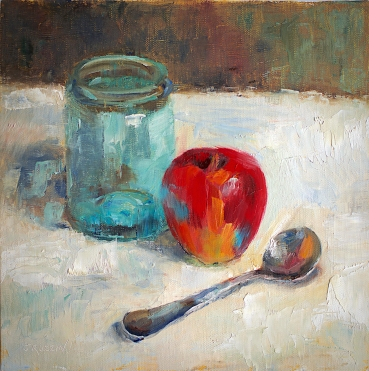 """""""Ball Jar and Apple."""" 10x10, oil on linen panel. Exhibition history: Juried into the Palette & Brush Show at Paint Creek Center for the Arts,"""