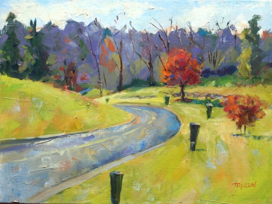 """""""Bloomfield Hills Entrance,"""" 9X12, oil on linen panel. $345. Currently on display at the NEXT Senior Center in Birmingham. Exhibition history: Juried into the student show at the Flint Institute of Arts.Juried into the Birmingham """"Our Town"""" Exhibit."""