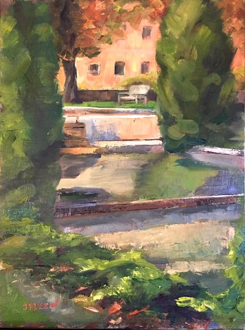 """ON HOLD FOR A SHOW. """"Cranbrook Reflecting Pool,"""" 12x9, oil on linen panel. $295."""