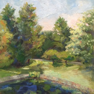 """""""Cranbrook View from Lookout"""" 10x10, oil on linen panel. $295. Exhibition history: Juried into the 2019 """"Our Town"""" show in Birmingham, MI. Currently on display at the Heritage Park Nature Center."""
