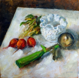 Hobnail and Radishes. 12x12, oil on panel. $325. Exhibition history: Juried into the Palette & Brush Show at Paint Creek Center for the Arts.