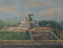 """Scott Fountain at Dusk,"" 9x12, oil on linen. 9x12, oil on canvas. Started plein air, finished in studio. $295"