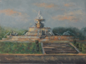 """""""Scott Fountain at Dusk,"""" 9x12, oil on linen. Started plein air, finished in studio."""