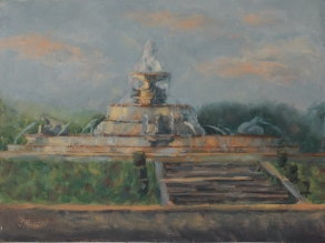 """Scott Fountain at Dusk,"" 9x12, oil on linen. 9x12, oil on canvas. Currently for sale at blacksaltmarket.com."