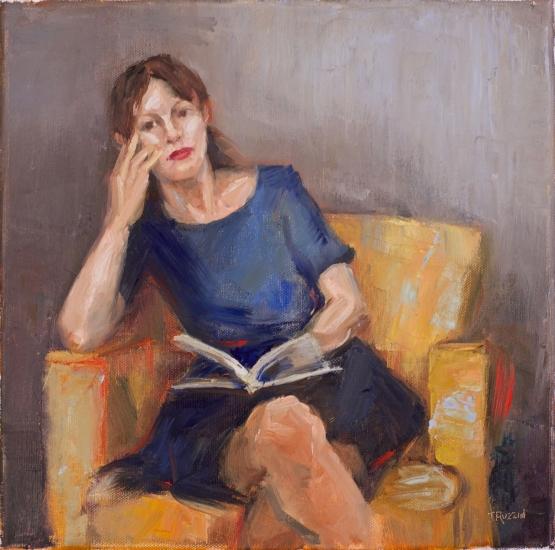 """""""The Reader,"""" 12x12, oil on canvas. Currently for sale at blacksaltmarket.com"""