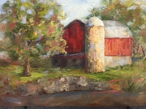 """Barn at Heritage Park."" 9x12, oil on panel. Painted mostly plein air with minor studio tweaks. Exhibition history: Heritage Park Nature Center, Farmington Hills, MI."