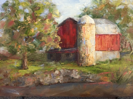 """Barn at Heritage Park."" 9x12, oil on panel. $295. Painted mostly plein air with minor studio tweaks. Exhibition history: Heritage Park Nature Center, Farmington Hills, MI."