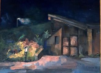 """Pierce Cedar Creek Institute,"" a nature center, smack dab in the center of Pure Michigan. 9x12, oil on panel. Plein air nocturne with minor studio tweaks."