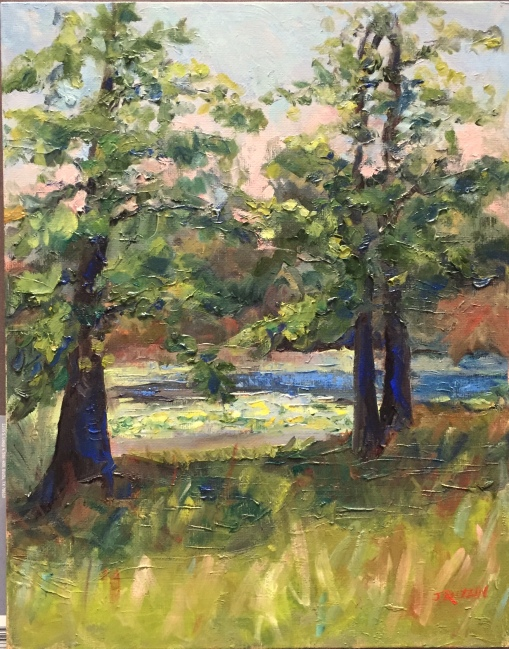 """""""Trees with Cobalt Shadows"""" 14x11, oil on panel. $325. Painted at the Michigan Outdoor Education Center in Hastings, Michigan."""